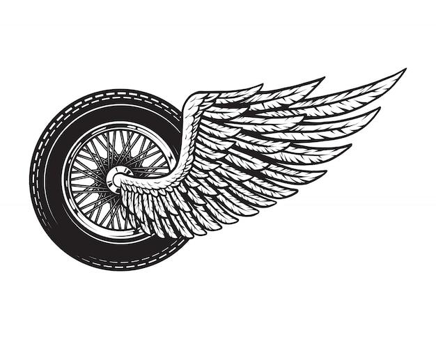 Vintage gevleugelde motorfiets wiel concept