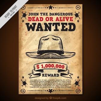 Vintage gezocht poster met hoed en rode details