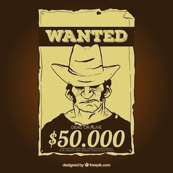 Vintage gezocht poster sjabloon met beloning