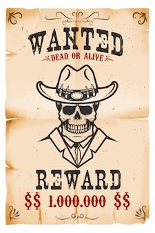 Vintage gezocht poster sjabloon met oud papier textuur achtergrond. cowboy schedel. wild west thema. illustratie