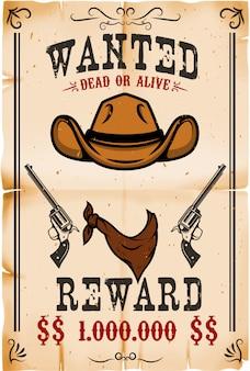 Vintage gezocht poster sjabloon met oud papier textuur achtergrond. wild west thema. illustratie