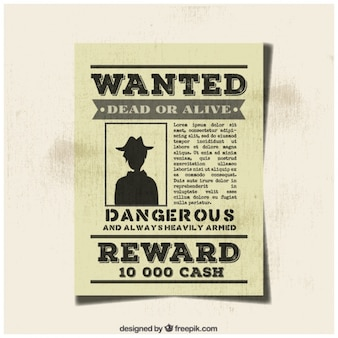 Vintage gezochte misdadiger poster