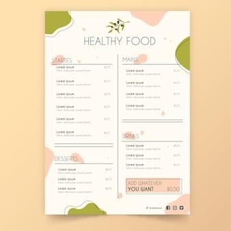 Vintage gezond eten restaurant menu