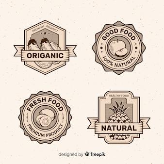 Vintage gezond voedsel logo set
