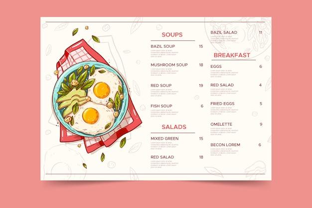 Vintage gezond voedsel restaurant menusjabloon