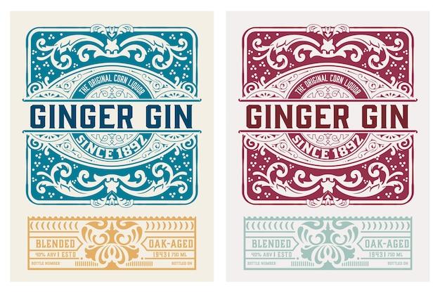 Vintage gin-etiket.