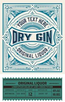 Vintage gin labelontwerp
