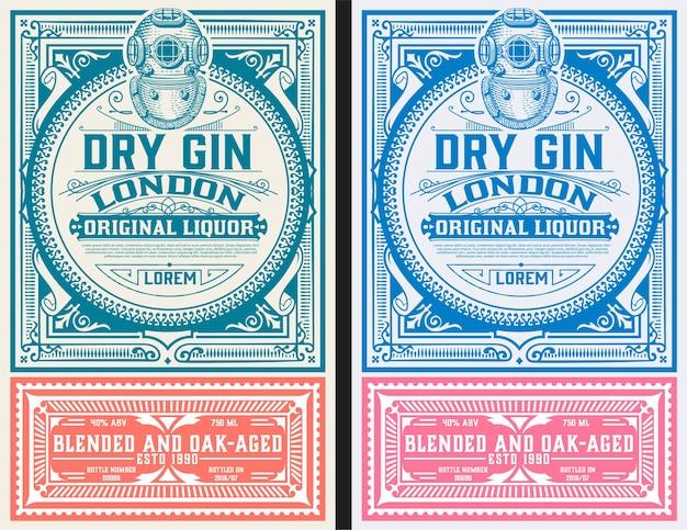 Vintage gin labelsjabloon