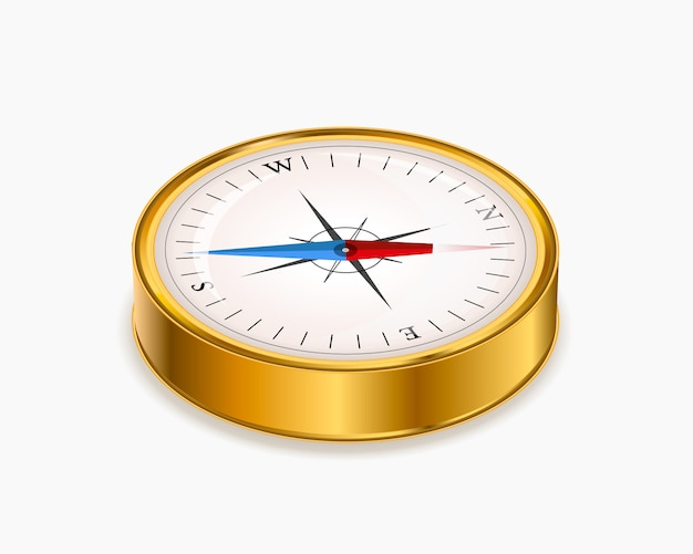 Vintage glanzend gouden kompas in isometrische weergave op wit