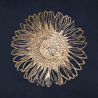 Vintage glitter gouden zonnebloem art print, remix van kunstwerken van samuel jessurun de mesquita