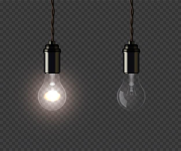 Vintage gloeiende en gedoofde lampen die aan draad vasthouden
