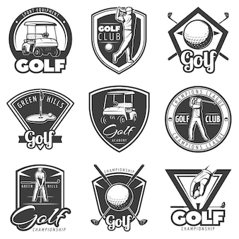 Vintage golf badges instellen