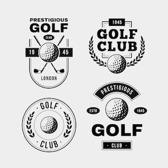 Vintage golflogo-collectie in zwart en wit
