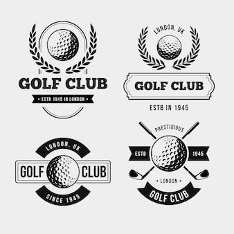 Vintage golflogo-collectie in zwart-wit
