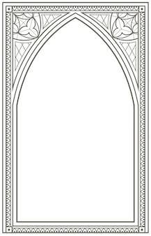 Vintage gotische raam boog contour illustratie