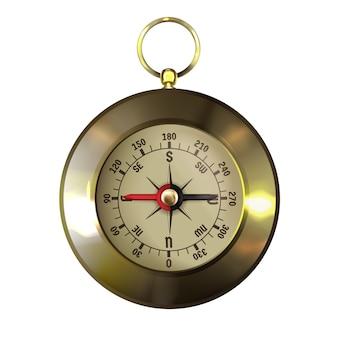 Vintage goud omlijst of koperen kompas met windroos
