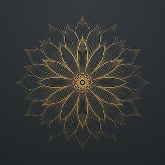 Vintage gouden bloem abstract mandala line art lace