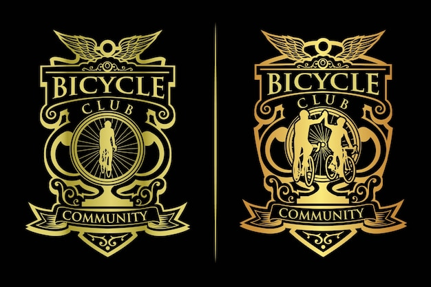 Vintage gouden fietsen clublogo