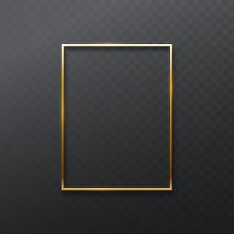 Vintage gouden frame geïsoleerd op transparante donkere achtergrond