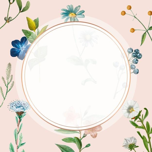 Vintage gouden frame vector bloemen achtergrond