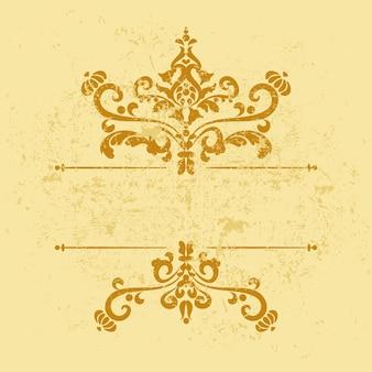 Vintage gouden grunge sjabloon met patroon en frameranden decoratief shabby patroon goudgeel