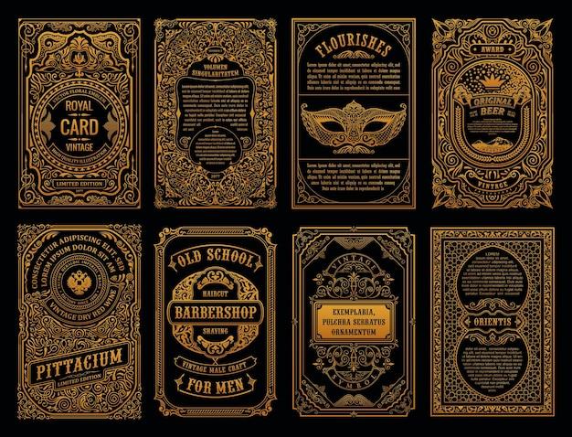 Vintage gouden kaarten en kaderlabels