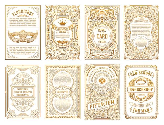Vintage gouden kalligrafische flourish frames labels en sjabloonkaarten
