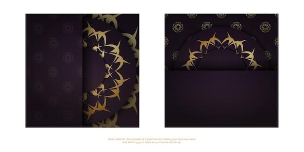 Vintage gouden patroon bordeaux flyer voorbereid voor typografie.