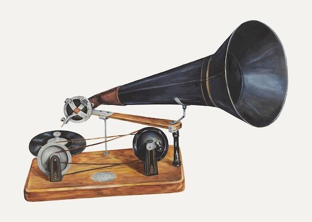Vintage grammofoon illustratie vector, geremixt van het kunstwerk door charles bowman