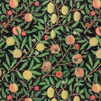 Vintage granaatappel en bloemen op takken patroon vector
