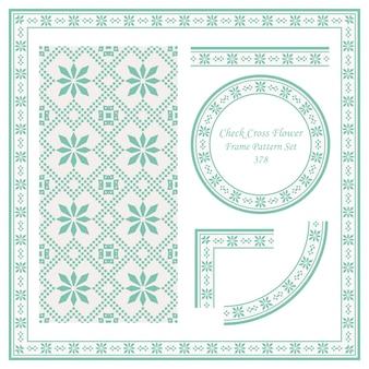 Vintage grenspatroon van check cross square flower
