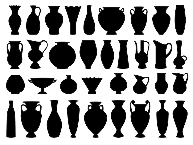 Vintage griekse vazen zwart silhouet