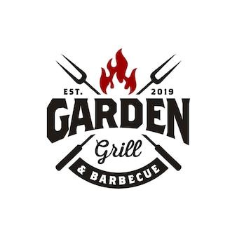 Vintage gril barbeque logo-ontwerp