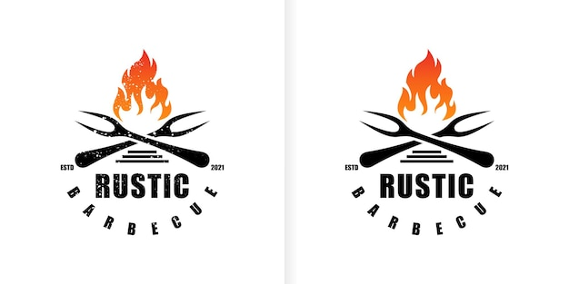 Vintage grill barbecue logo ontwerp premium vector
