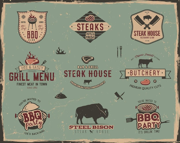 Vintage grill- en steakhouse-logo-sjablonen. retro kleuren bbq, grill party badges, stempels en labels set. symbolen van gegrild vlees, gereedschap. geïsoleerd op oude stijl achtergrond. vector paden, tekens.