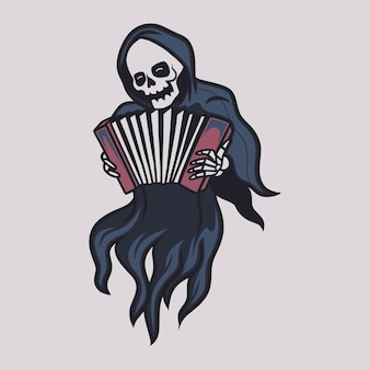 Vintage grim reaper speelt accordeon