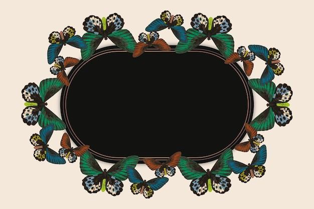 Vintage groen vlinderpatroon vector frame, remix van the naturalist's miscellany door george shaw
