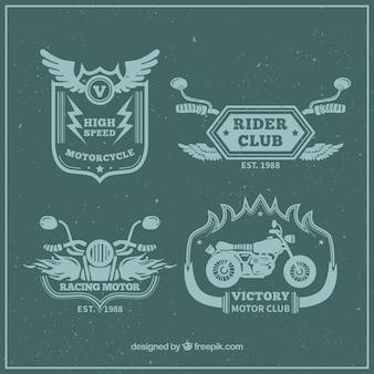 Vintage groene badges van moto