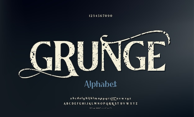 Vintage grunge lettertype met vuile ruis textuur met swooshes