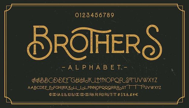 Vintage grunge lettertype met vuile ruis textuur. oude letters op geroeste achtergrond.