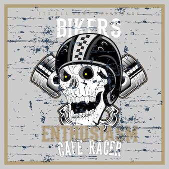 Vintage grunge stijl schedel dragen helm hand tekenen vector