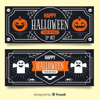 Vintage halloween banners met pompoen en spook