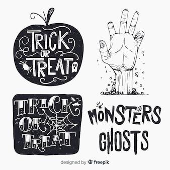 Vintage halloween labels instellen