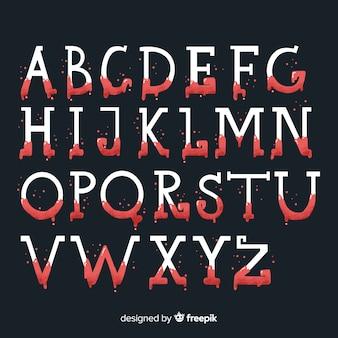 Vintage halloween met bloed alfabet