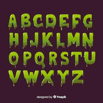 Vintage halloween met slijm alfabet