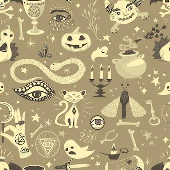 Vintage halloween naadloze patroon