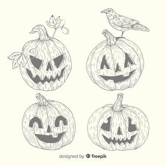 Vintage halloween-pompoeninzameling in potlood