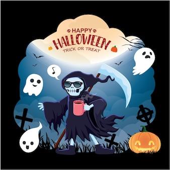 Vintage halloween-posterontwerp met vector demon devil reaper ghost vleermuis karakter