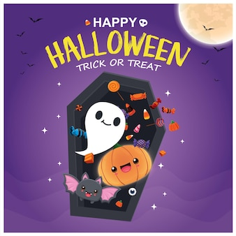 Vintage halloween-posterontwerp met vector ghost jack o lantern demon bat character