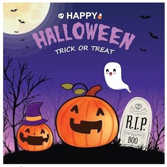 Vintage halloween-posterontwerp met vector ghost jack o lantern karakter